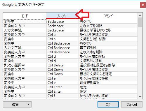 日本語入力キー設定