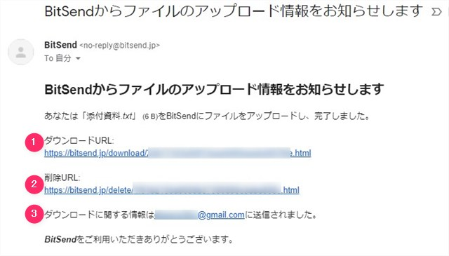 BitSendからのファイルのアップロード情報メールの画面