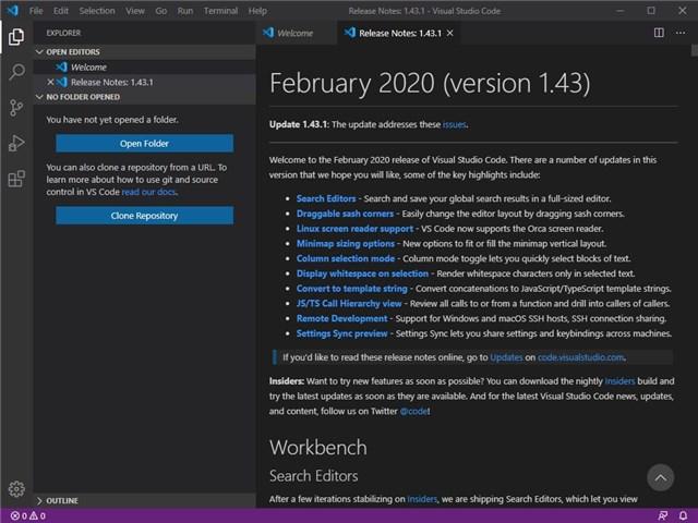 Visual Studio Code 起動後の英語表示画面