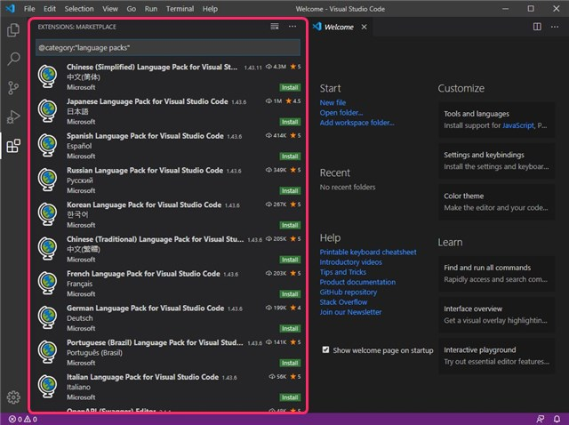 Visual Studio Code 拡張言語パックの表示画面