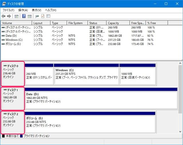 ディスクの管理の表示とディスクドライブの説明