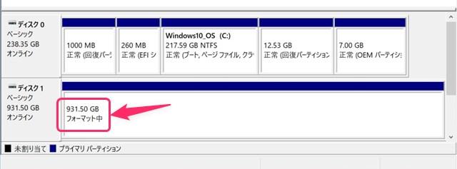 SSDがフォーマット中の画面