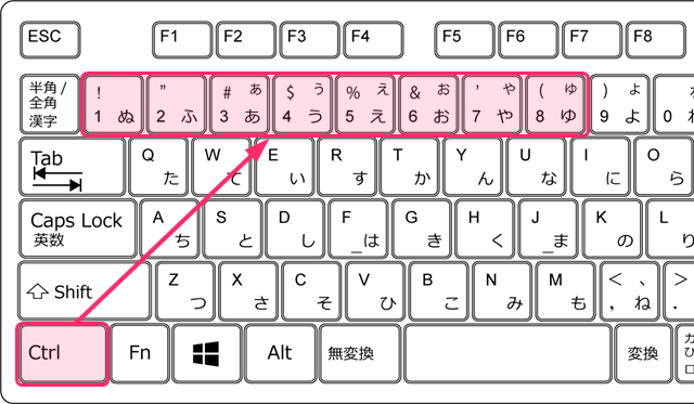 ctrl+1~ctrl+8 特定のタブに移動するショートカットキー