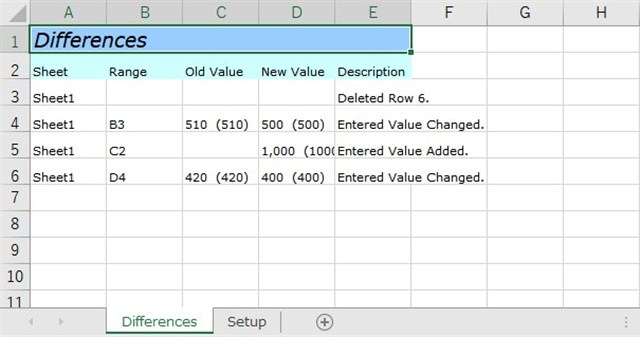比較結果ファイル Differences シート
